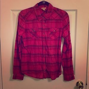 Pink Plaid Button Down Top, size medium